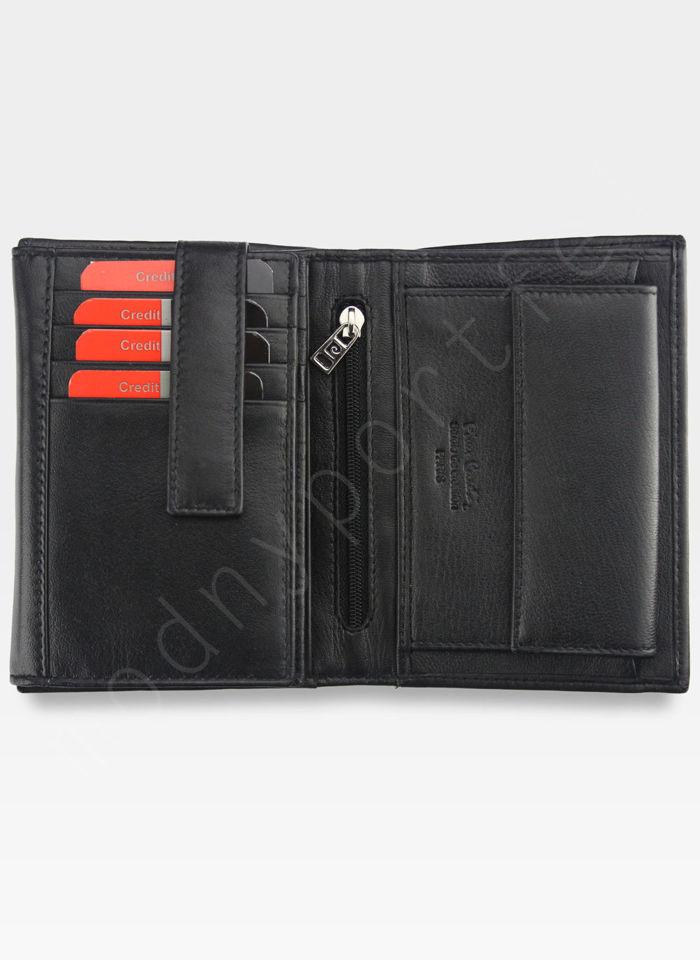 Portfel Męski Pierre Cardin Skórzany Klasyczny Czarny Tilak26 330 RFID Czarny + Niebieski