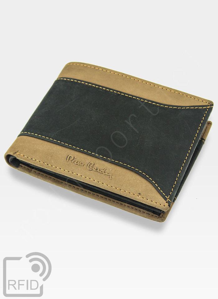 Portfel Męski Pierre Cardin Skórzany Poziomy Czarny + Brązowy HUNTER 8805 Wbudowana ochrona RFID