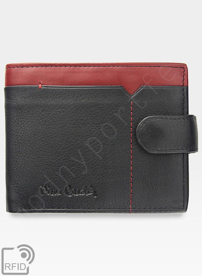Portfel Męski Pierre Cardin Skórzany Zapinany Czarny + Czerwony Poziomy RFID 324A