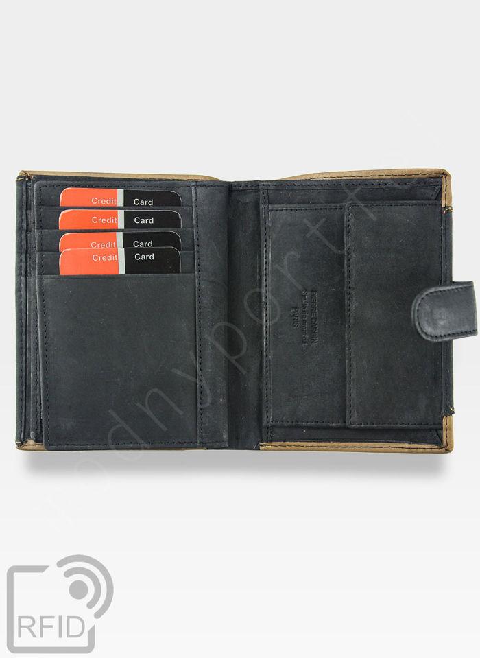 Portfel Męski Pierre Cardin Skórzany Zapinany Pionowy Czarny Tilak13 331A RFID