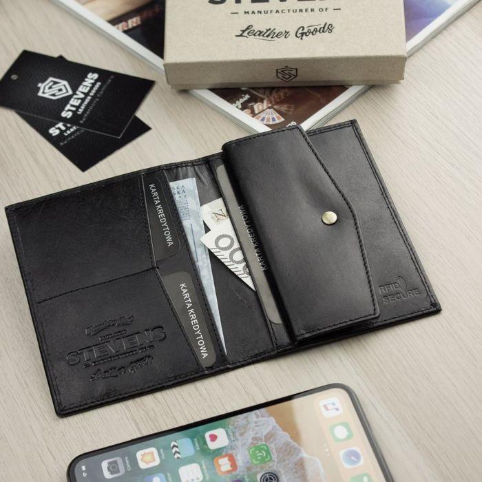 Portfel Męski Skórzany STEVENS Ochrona RFID Cienki SLIM