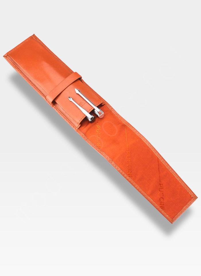 Skórzane Etui Na Długopis PUCCINI Pomarańczowe 1808P