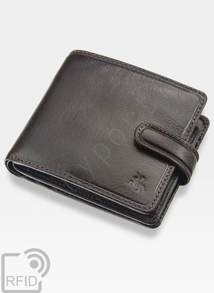 Viscont Bezpieczny Portfel Męski Skórzany Ciemny Brąz RFID TSC42