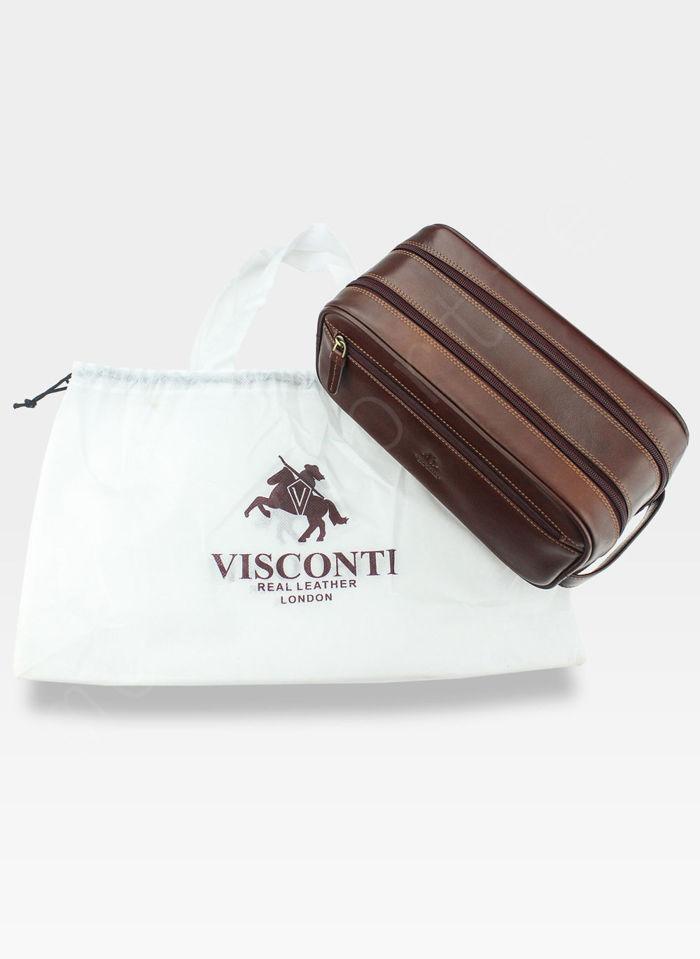 Visconti Męska Saszetka Kosmetyczna Skórzana Skóra Naturalna MZ100 Brązowa
