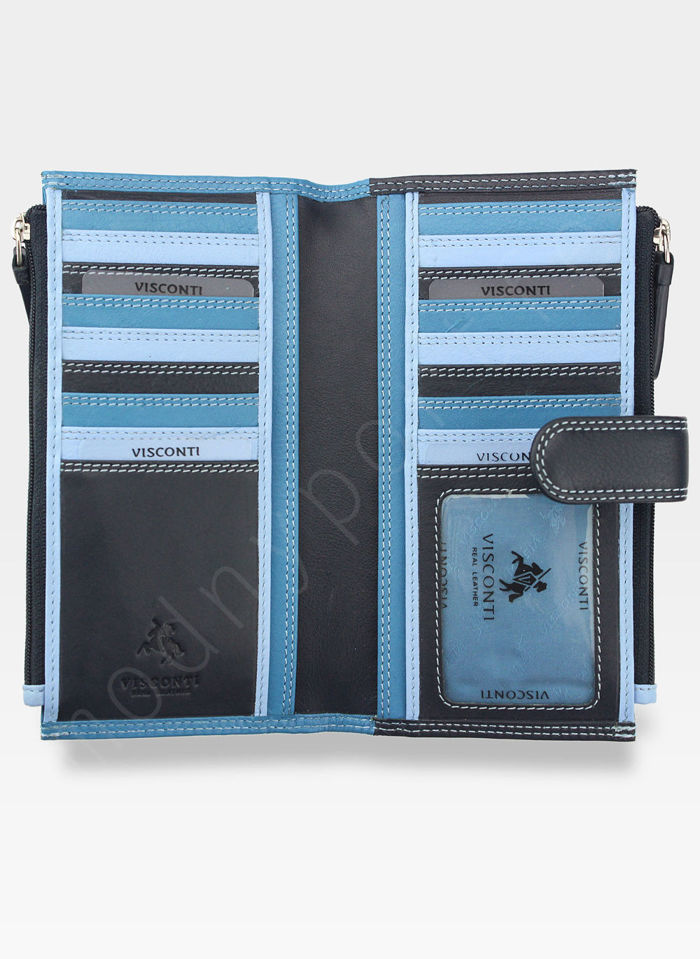Visconti Portfel Damski Skórzany RAINBOW RB100 Niebieski Multi