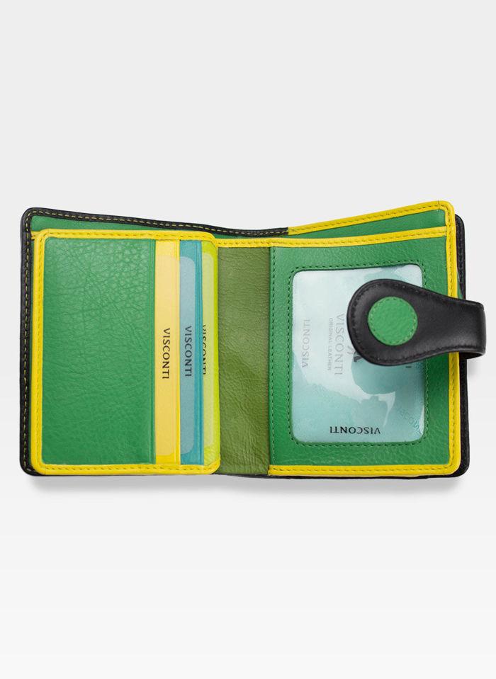 Visconti Portfel Damski w Kropki P3 Zielony Multi