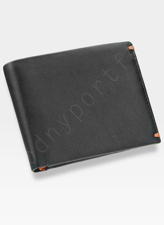 Visconti Portfel Męski Skórzany Alpine AP62 Czarny + Pomarańczowy