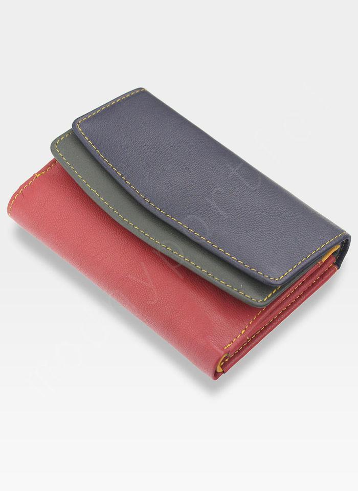 YOSHI Średni Portfel Damski Skórzany Czerwony Multi Y By Yoshi Y1039 26