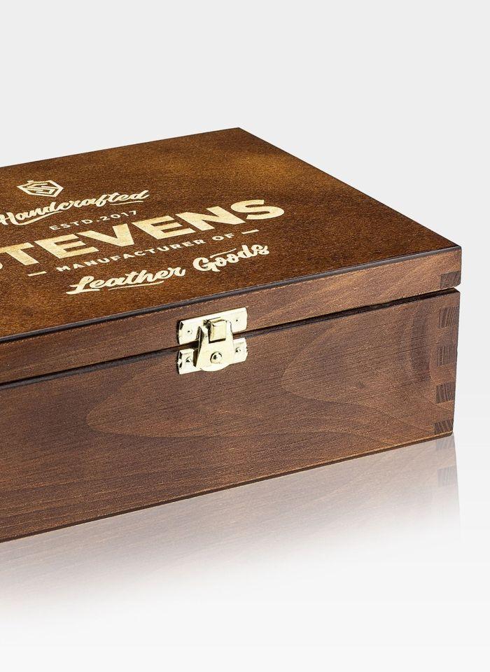 Zestaw Prezentowy  STEVENS Portfel i Pasek w drewnianym pudełku na prezent Dla Taty Dla Syna