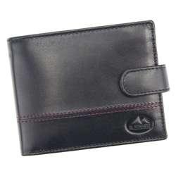 Elegancki Portfel męski skórzany EL FORREST 2400-62 RFID czarny + czerwony