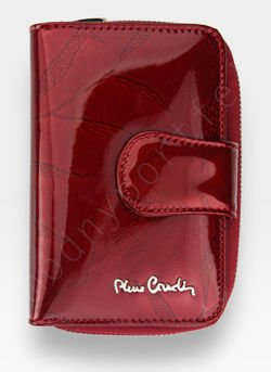 Portfel Damski Pierre Cardin Skórzany Czerwony w Liście 115