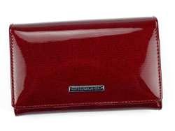 Portfel Damski Skórzany Gregorio LN-112 czerwony Skóra Naturalna Lakierowana