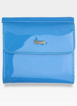 Portfel Damski Skórzany PETERSON Lakierowany Magic z Tunelem 499 PZ209 Piękny Niebieski