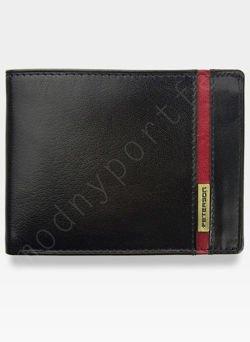 Portfel Męski Peterson Skórzany 347.04 Czarny+Czerwony Memory Card SD