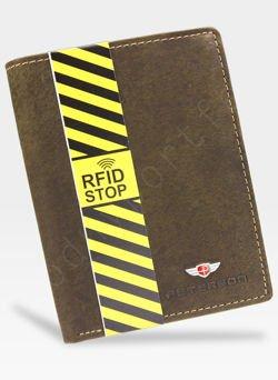 Portfel Męski Peterson Skórzany Brązowy 350 RFID STOP