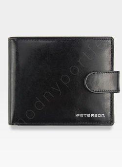 Portfel Męski Peterson Skórzany z wyciąganą wkładką  308 Czarny + Czerwony Zapinany